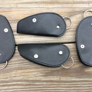 Lot of 4 Car Key Chains Black Genuine Leather